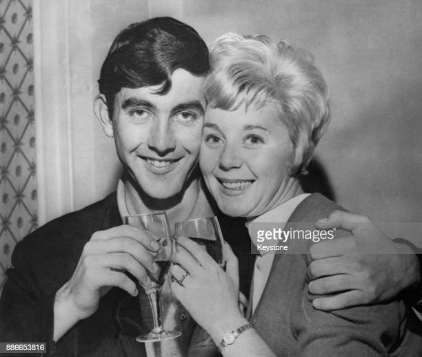 English actor John Alderton with his fiancée actress Jill Browne who costars with him in the television soap opera 'Emergency Ward 10' 5th October...