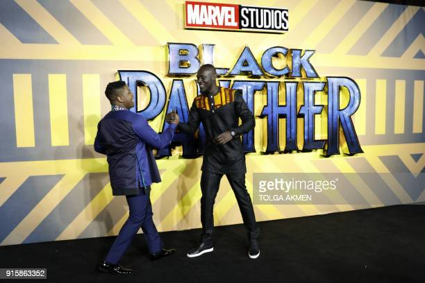 English actor John Boyega and English grime and hip hop artist Stormzy pose on arrival for the European Premiere of 'Black Panther' in central London...