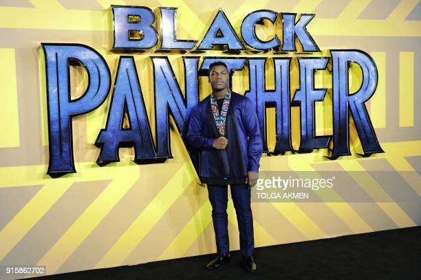 English actor John Boyega poses on arrival for the European Premiere of 'Black Panther' in central London on February 8 2018 / AFP PHOTO / Tolga AKMEN