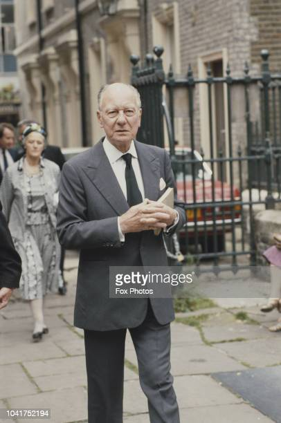 English actor John Gielgud attends a memorial service for fellow actor Sir Michael Redgrave at St Paul's Church Covent Garden London 18th July 1985