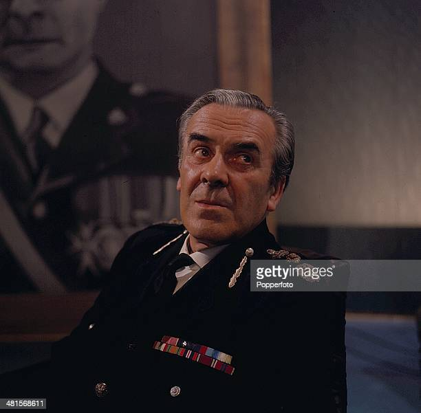 1968 English actor John Le Mesurier pictured wearing military uniform in a scene from the television drama 'Upheavals Likely Amongst Near and Dear'...