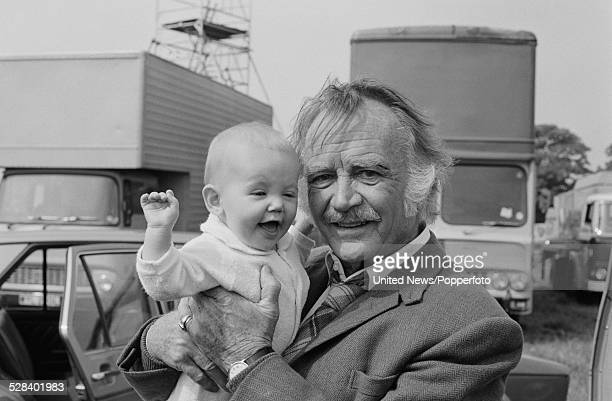 English actor John Mills pictured with his granddaughter Melissa Caulfield on set during filming of the science fiction television series Quatermass...