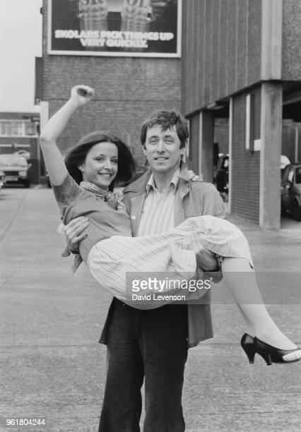 English actor John Nettles and French actress Aniouta Florent during a photocall in London for the new BBC series 'Bergerac', 24th March 1981.