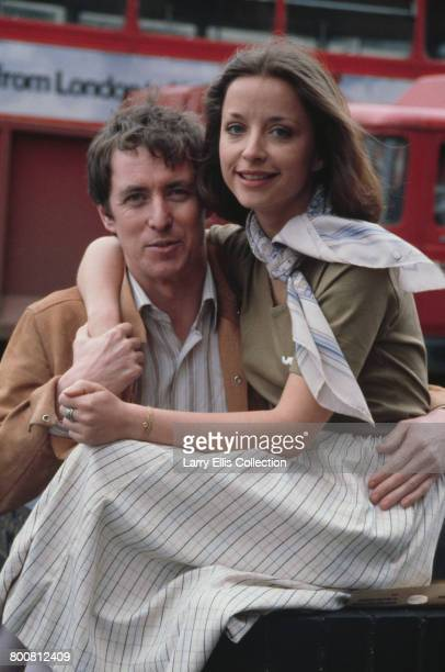 English actor John Nettles who appears in character as Jim Bergerac in the television drama series 'Bergerac', posed with French actress Aniouta...