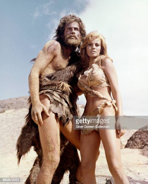English actor John Richardson and American actress Raquel Welch in a scene from 'One Million Years BC' , 1966.