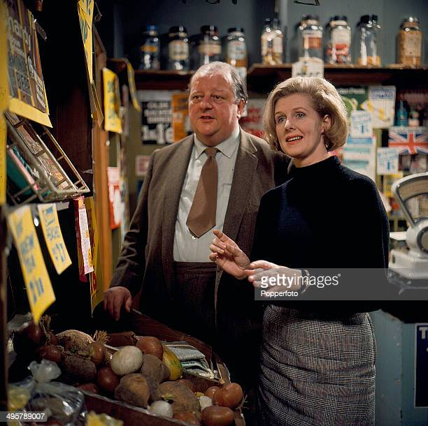 English actor John Sharp pictured with Irene Sutcliffe in her role as 'Maggie Clegg' on the set of the television soap opera 'Coronation Street' in...
