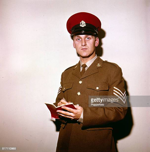 English actor John Thaw posed in character as 'Sergeant John Mann' of the Royal Military Police on the set of the television drama series 'Redcap' in...