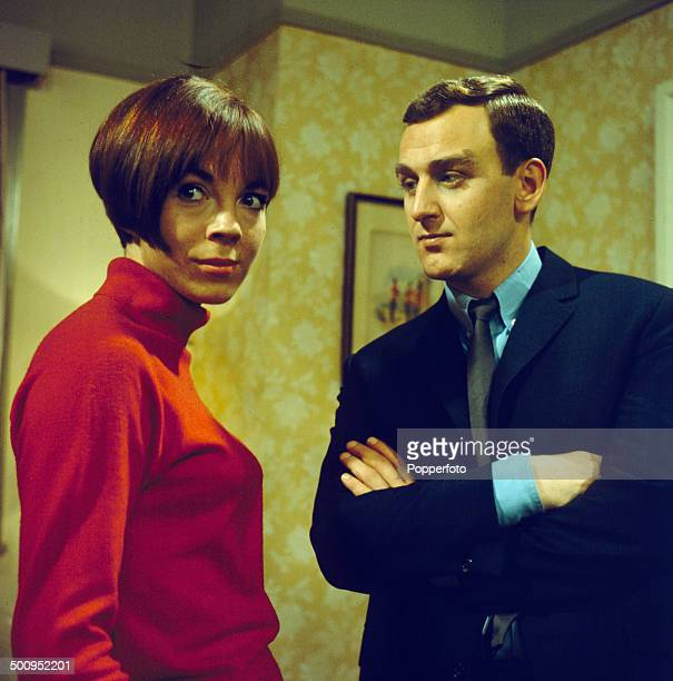 English actor John Thaw pictured with actress Carole Mowlam in a scene from the television drama series 'Redcap The Proper Charlie' in 1966