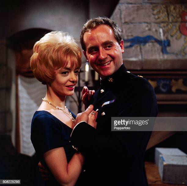 English actor John Thaw pictured with actress Jennifer Wood in a scene from the television drama series 'Redcap A Question of Initiative' in 1966