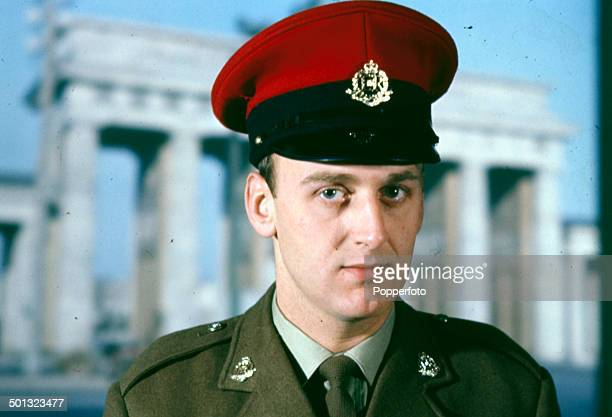 English actor John Thaw posed wearing the uniform of the Royal Military Police on the set of the television drama series 'Redcap' in 1964