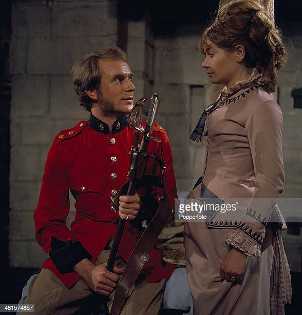English actor Jonathan Newth pictured wearing military uniform with British actress Ann Bell in a scene from the television series 'Frontier - Duel...