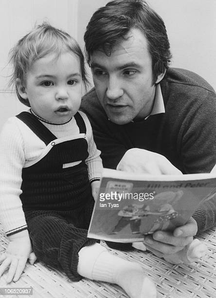 English actor Larry Lamb with his 14 monthold son George at their home in Fulham London 18th March 1981 George later became a TV and radio presenter