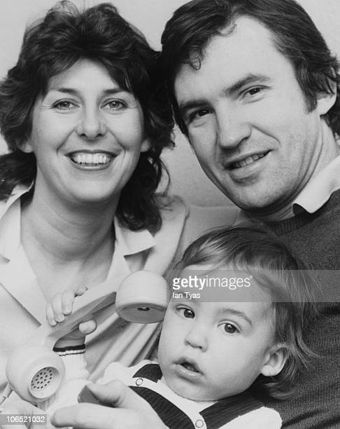 English actor Larry Lamb with his wife Linda and their 14 monthold son George at home in Fulham London 18th March 1981 George later became a TV and...