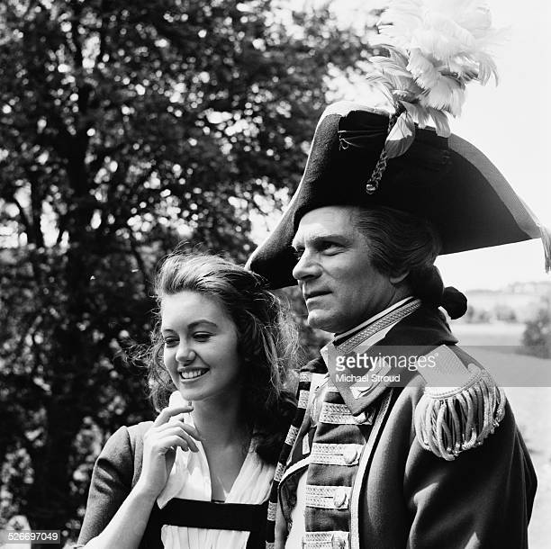 English actor Laurence Olivier and English actress Janette Scott on the film set of 'The Devil's Disciple' Tring Park Hertfordshire 1958