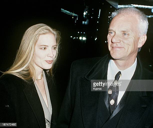 English actor Malcolm McDowell with his wife Kelley Kuhr, circa 1993.