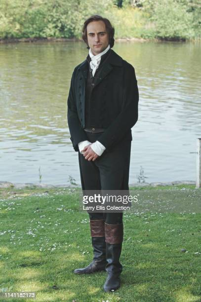 English actor Mark Strong pictured dressed in period costume for his role as George Knightley in the television adaptation of the Jane Austen novel...