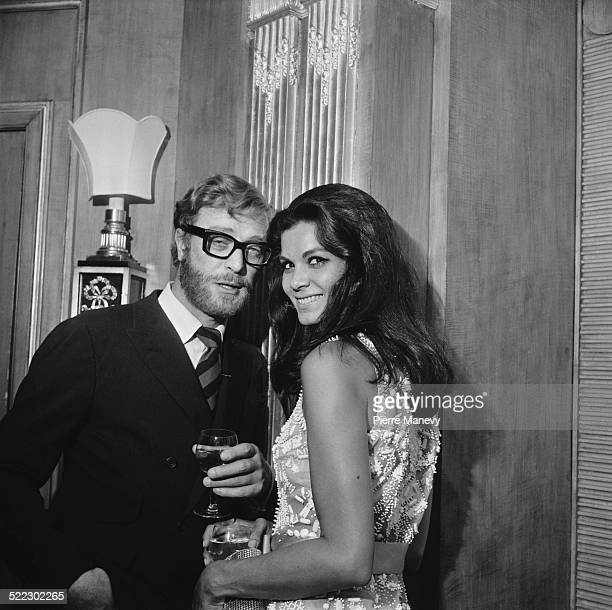 English actor Michael Caine and Brazilian actress Florinda Bolkan at the Dorchester Hotel for a party being held for the film 'The Last Valley'...