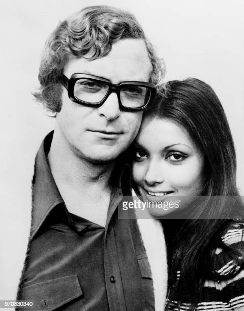 English actor Michael Caine poses with his wife actress and fashion model, Shakira Caine in February 1972 in Malta.