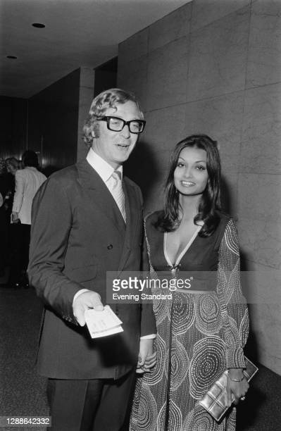 English actor Michael Caine with his partner, later his wife, Guyanese actress Shakira Baksh at the London Hilton, UK, September 1971.