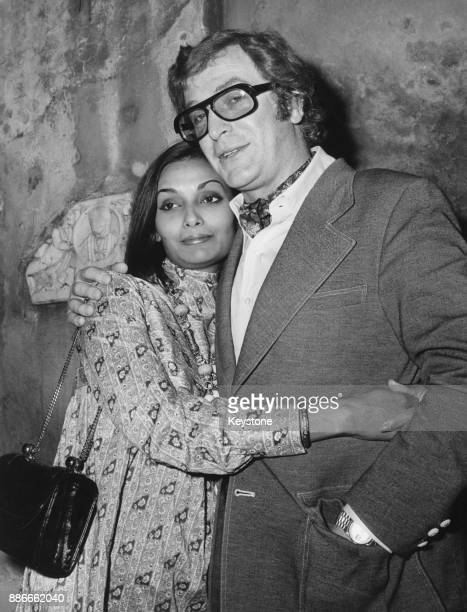 English actor Michael Caine with his wife Shakira in Rome, Italy, 1972. He will be attending the premiere of his film 'Sleuth'.