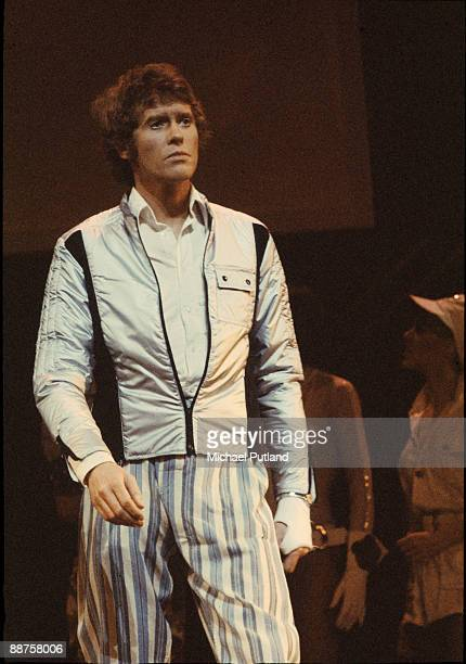 English actor Michael Crawford performing the lead role in the musical 'Billy' based on the novel 'Billy Liar' by Keith Waterhouse and Willis Hall,...
