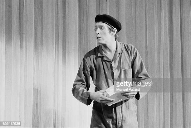 English actor Michael Crawford reprises his role of Frank Spencer from the BBC sitcom, 'Some Mothers Do 'Ave 'Em', on stage at the Royal Variety...