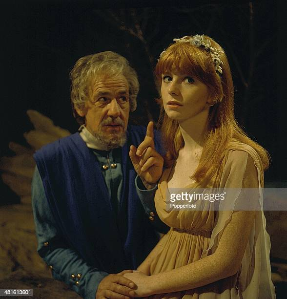 1968 English actor Michael Hordern pictured with actress Jane Asher in a scene from the television drama 'Tempo The Actor And The Role' in 1968