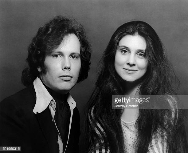 English actor novelist and screenwriter Julian Fellowes with American actress Holly Palance circa 1972 They are classmates at the Webber Douglas...