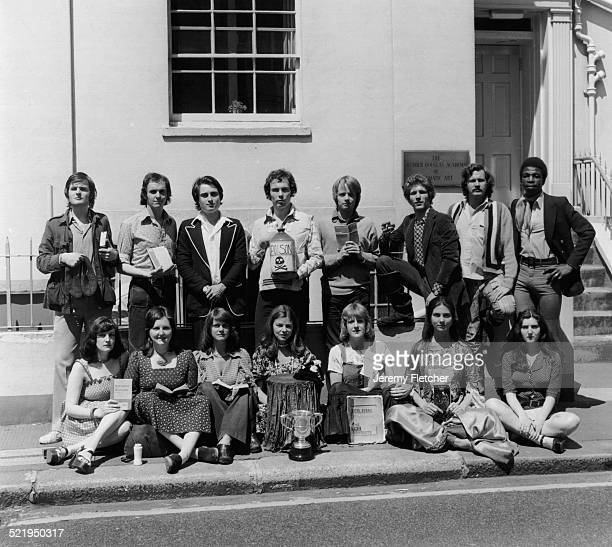 English actor novelist and screenwriter Julian Fellowes with his classmates at the Webber Douglas Academy of Dramatic Art in London 1972 Also...
