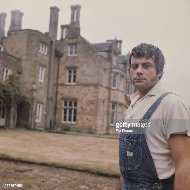 English actor Oliver Reed outside Broome Hall, his country mansion in Surrey, UK, 3rd December 1971.