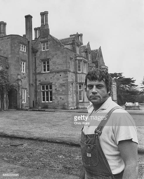 English actor Oliver Reed outside Broome Hall his country mansion in Surrey 3rd december 1971