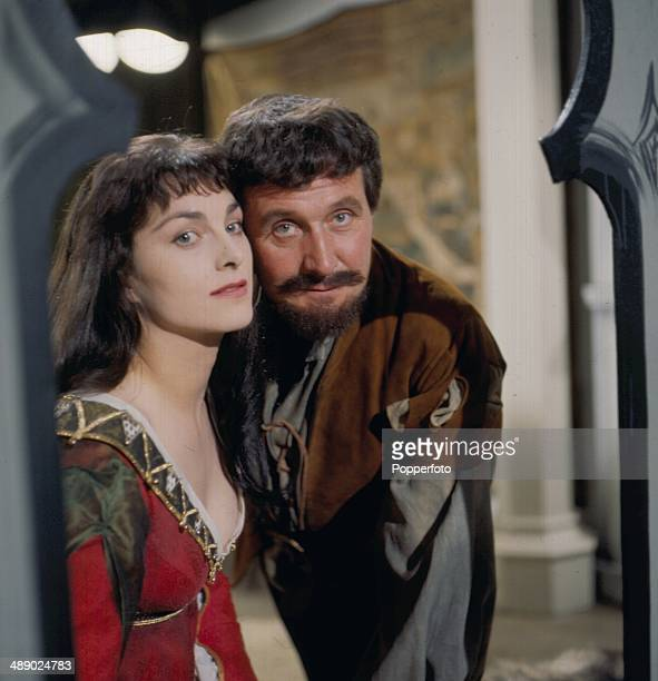 English actor Patrick Macnee and actress Barbara Jefford pictured together in a scene from the television drama 'Conflict - The Lady's Not For...