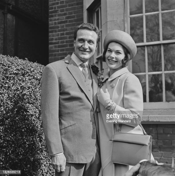 English actor Patrick Macnee marries actress Katherine Woodville in London, UK, 29th March 1965.