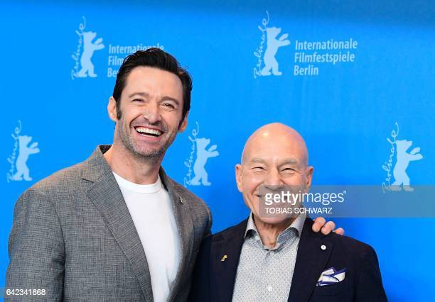 English actor Patrick Stewart and Australian actor Hugh Jackman pose for photographers during a photocall for the film 'Logan' in competition at the...