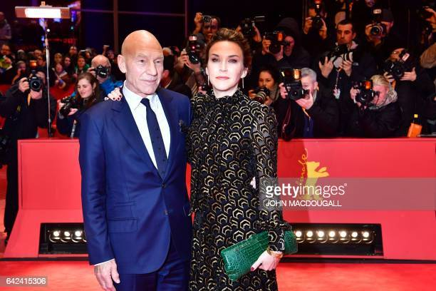 English actor Patrick Stewart and his wife Sunny Ozell pose on the red carpet for the premiere of the film 'Logan' in competition at the 67th...