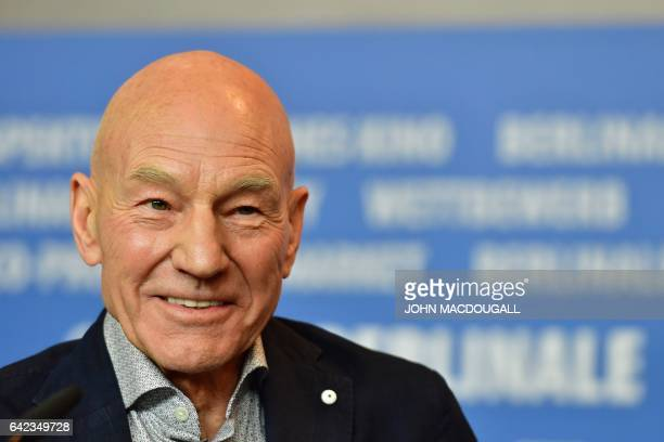 English actor Patrick Stewart attends a press conference for the film 'Logan' in competition at the 67th Berlinale film festival in Berlin on...