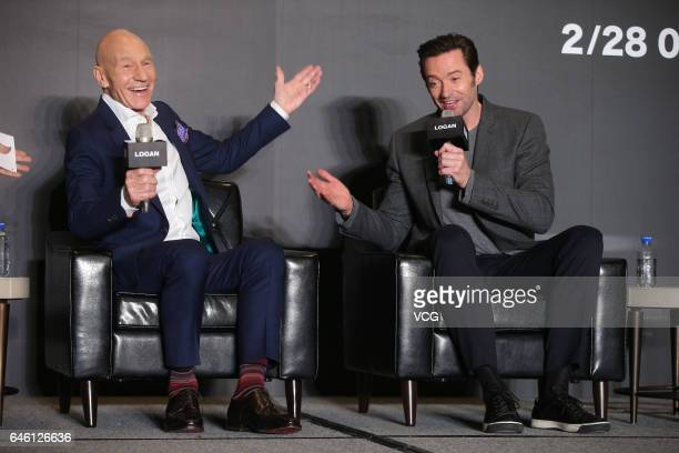 English actor Patrick Stewart Australian actor and singer Hugh Jackman attend the press conference of American director James Mangold's film 'Logan'...