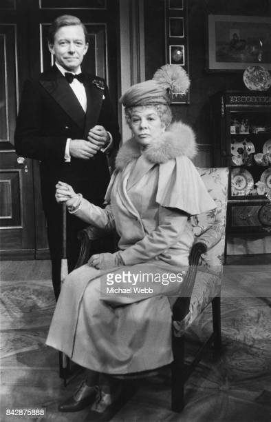English actor Peter Barkworth as King Edward VIII later the Duke of Windsor and Wendy Hiller as Queen Mary during rehearsals for the play 'Crown...