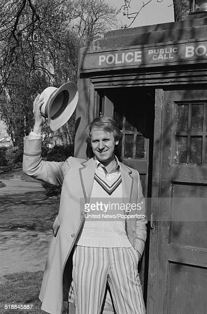 English actor Peter Davison pictured in character as The Doctor from the Popperfoto via Getty Images television science fiction series Doctor Who...