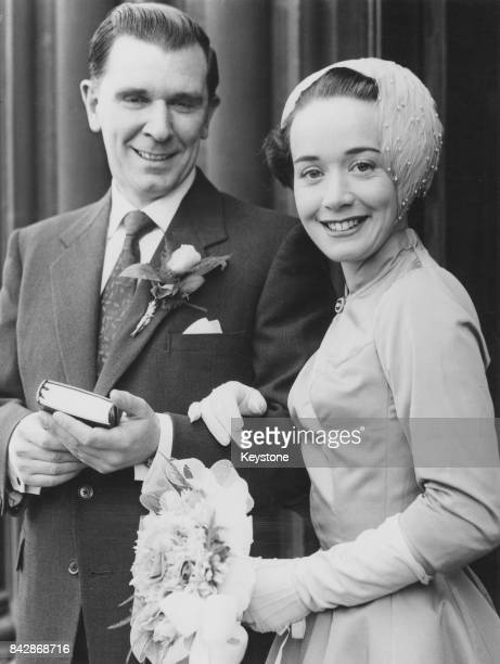 English actor Peter Hawkins marries actress Rosemary Miller at St Matthew's Church Bayswater London 13th September 1957 Miller plays a nurse in the...