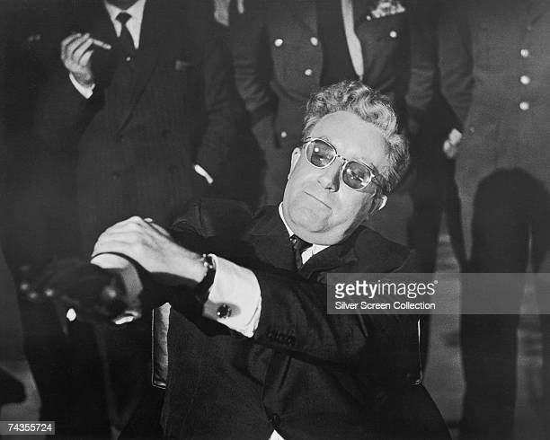 English actor Peter Sellers in the title role of 'Dr Strangelove' directed by Stanley Kubrick