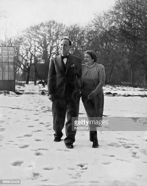 English actor Ralph Lynn and his wife Gladys in the grounds of their home in Tadworth Surrey UK 12th January 1953