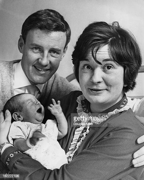 English actor Richard Briers with his wife actress Ann Davies and their newborn daughter Katie at Queen Charlotte's Hospital London 15th August 1963