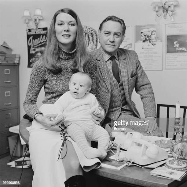 English actor Richard Todd with his wife, fashion model Virginia Mailer, and their son Andrew, 14th January 1974.