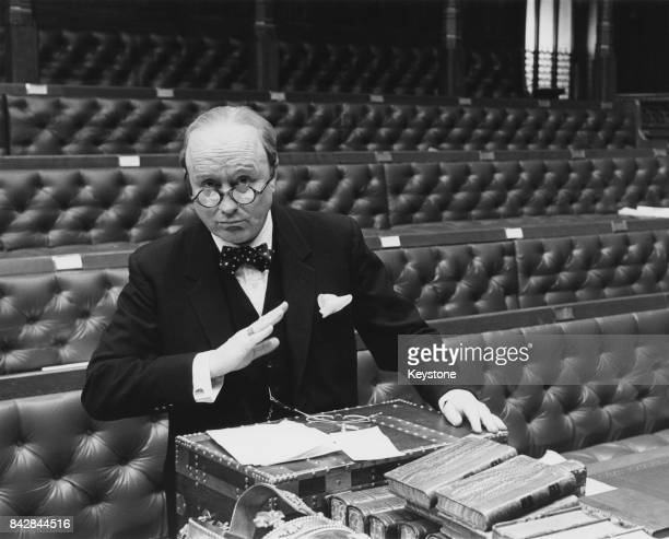 English actor Robert Hardy as Winston Churchill in the ITV mini-series 'Winston Churchill: The Wilderness Years', to be aired in the autumn, March...
