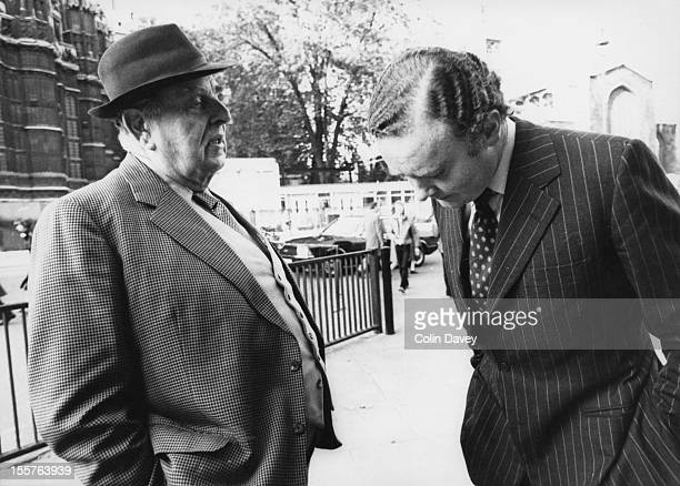 English actor Robert Morley with British Conservative politician and MP for Chester Peter Morrison outside the House of Commons London 23rd October...