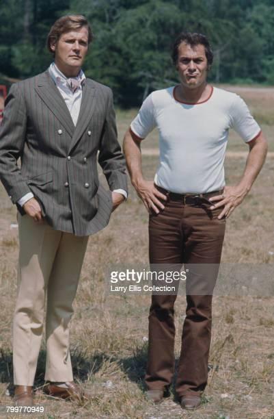 English actor Roger Moore and American actor Tony Curtis pictured together in character as Lord Brett Sinclair and Danny Wilde on location during...