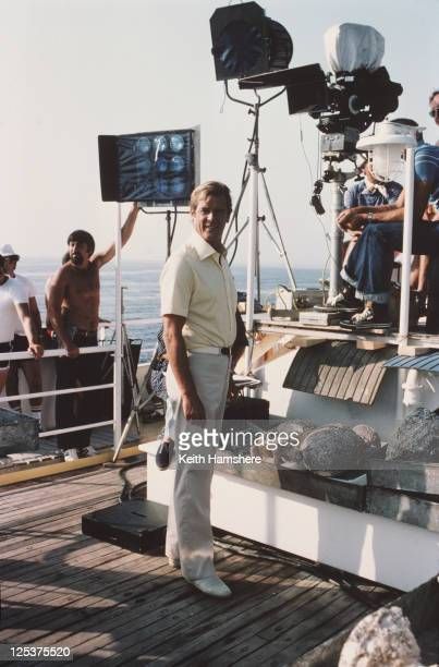 English actor Roger Moore as 007 on the set of the James Bond film 'For Your Eyes Only' February 1981