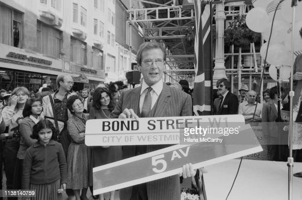 English actor Roger Moore attends an inaugural event in Central London, UK, 7th June 1983.