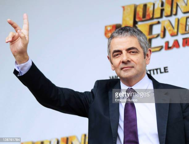 English actor Rowan Atkinson attends the 'Johnny English Reborn' photocall at La Casa Del Cinema on October 7 2011 in Rome Italy